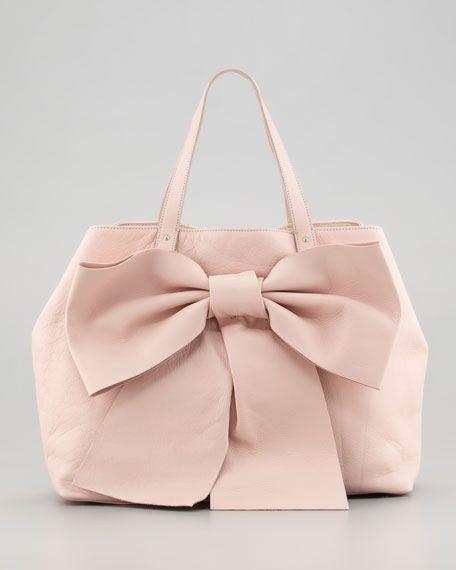 Red Valentino Calfskin Bow Tote Bag Tan