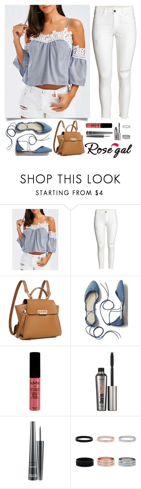 """""""Cold Shoulder Top"""" by kmeowj ❤ liked on Polyvore featuring ZAC Zac Posen, Gap, NYX, Benefit and MAC Cosmetics"""