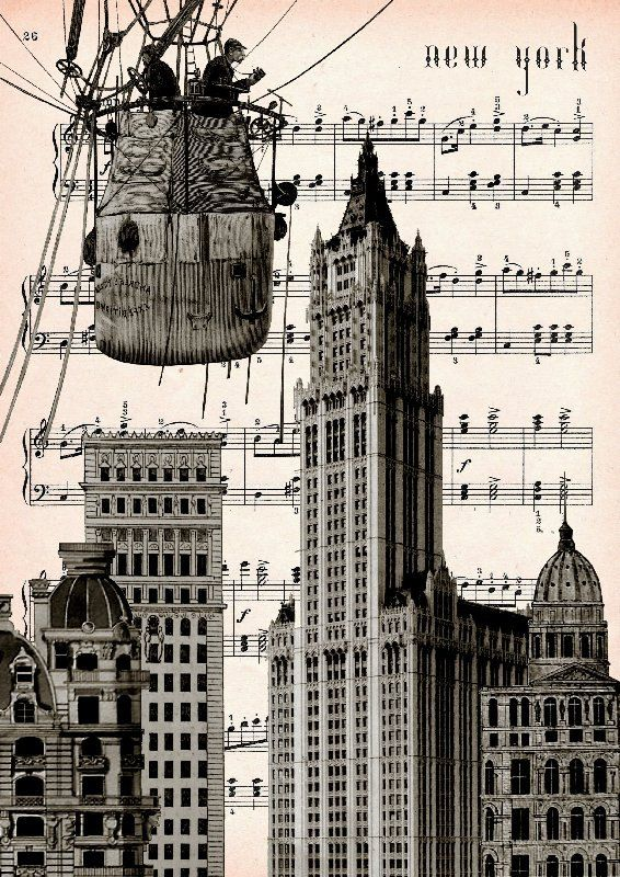New York Ballon Original Kunstdruck Giclee Print Poster