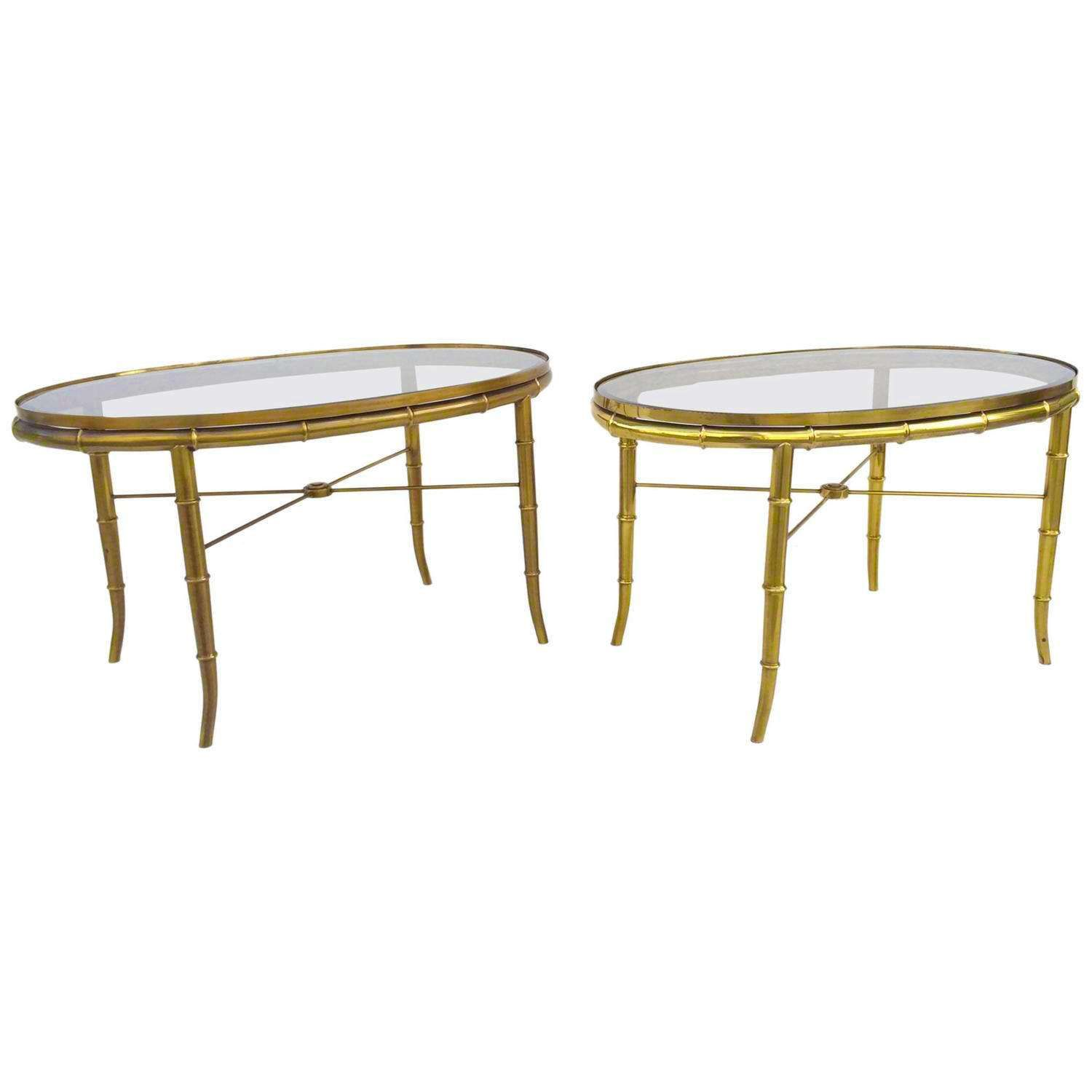 Pair Mid Century Mastercraft Oval Faux Bamboo Glass Brass Cocktail Side Tables By Fusionretro On Etsy Faux Bamboo Table Glass Side Tables [ 1500 x 1500 Pixel ]