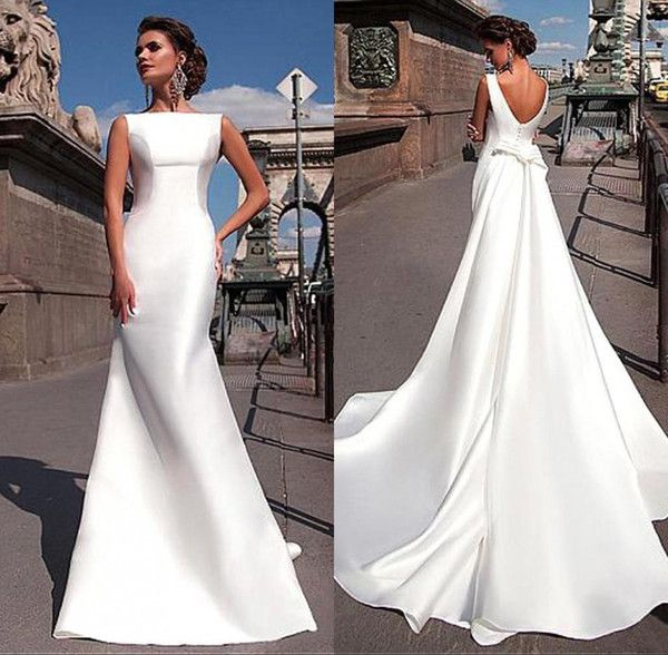 2017 encantadores vestidos de novia de satén elegante con tren largo