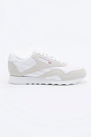 699cf7288b03a Reebok Classic Nylon Runner Trainers in White and Grey - Urban Outfitters