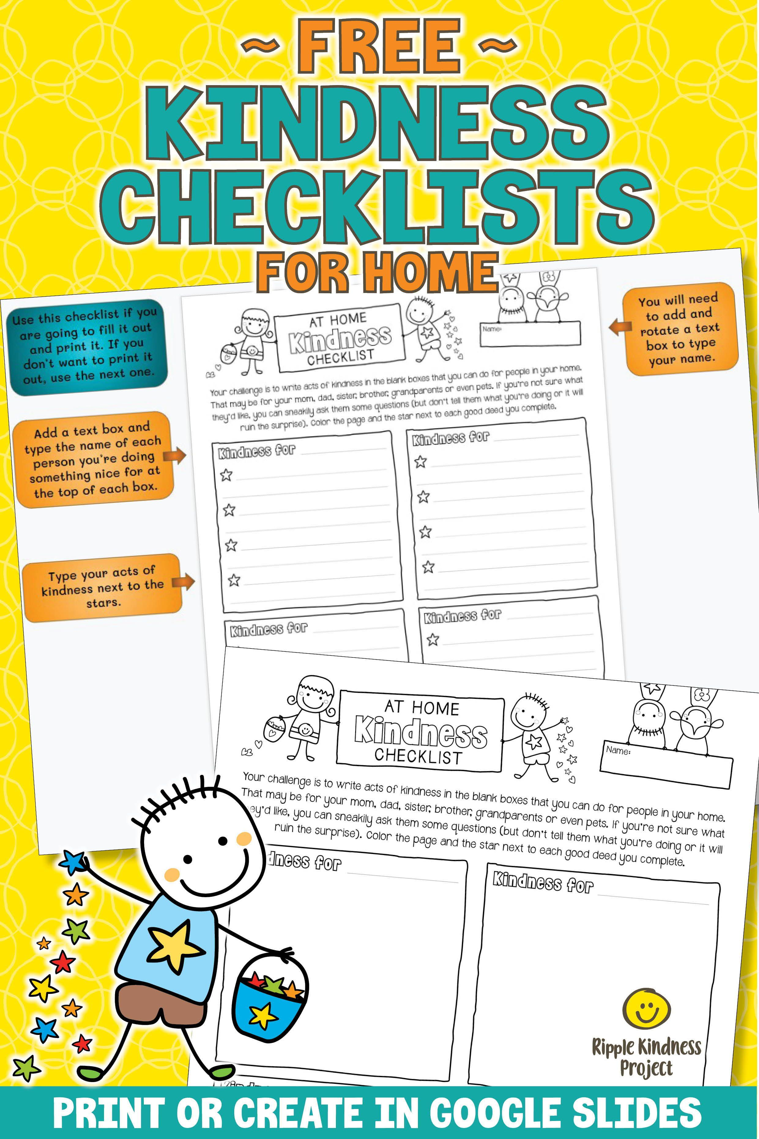 Kindness Checklist For Home