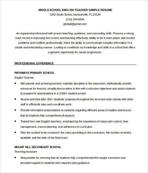 Resume Templates For Teachers English Teacher Resume Template Eord Format Download  How To Make