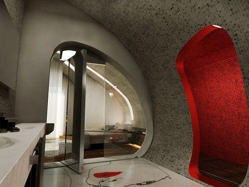 rounded form bathroom luxury futuristic interior design audio