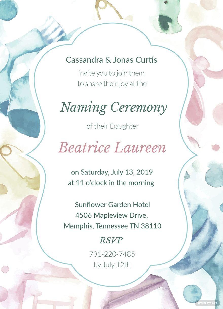 naming ceremony invitation template free pdf  word