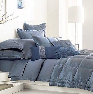 Attractive Donna Karan Modern Classics Bedding, Sapphire Night Blue Full Queen Bed  Quilt NEW