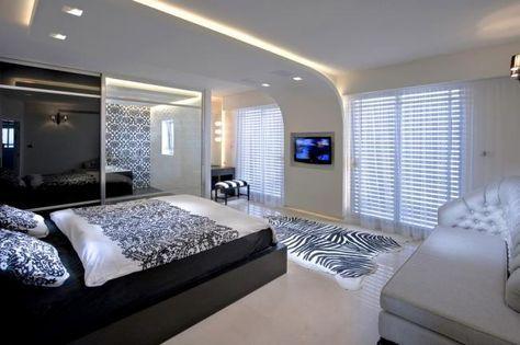Led Streifen Decke Paneele Schlafzimmer Schwarz Weiß Moderne Einrichtung