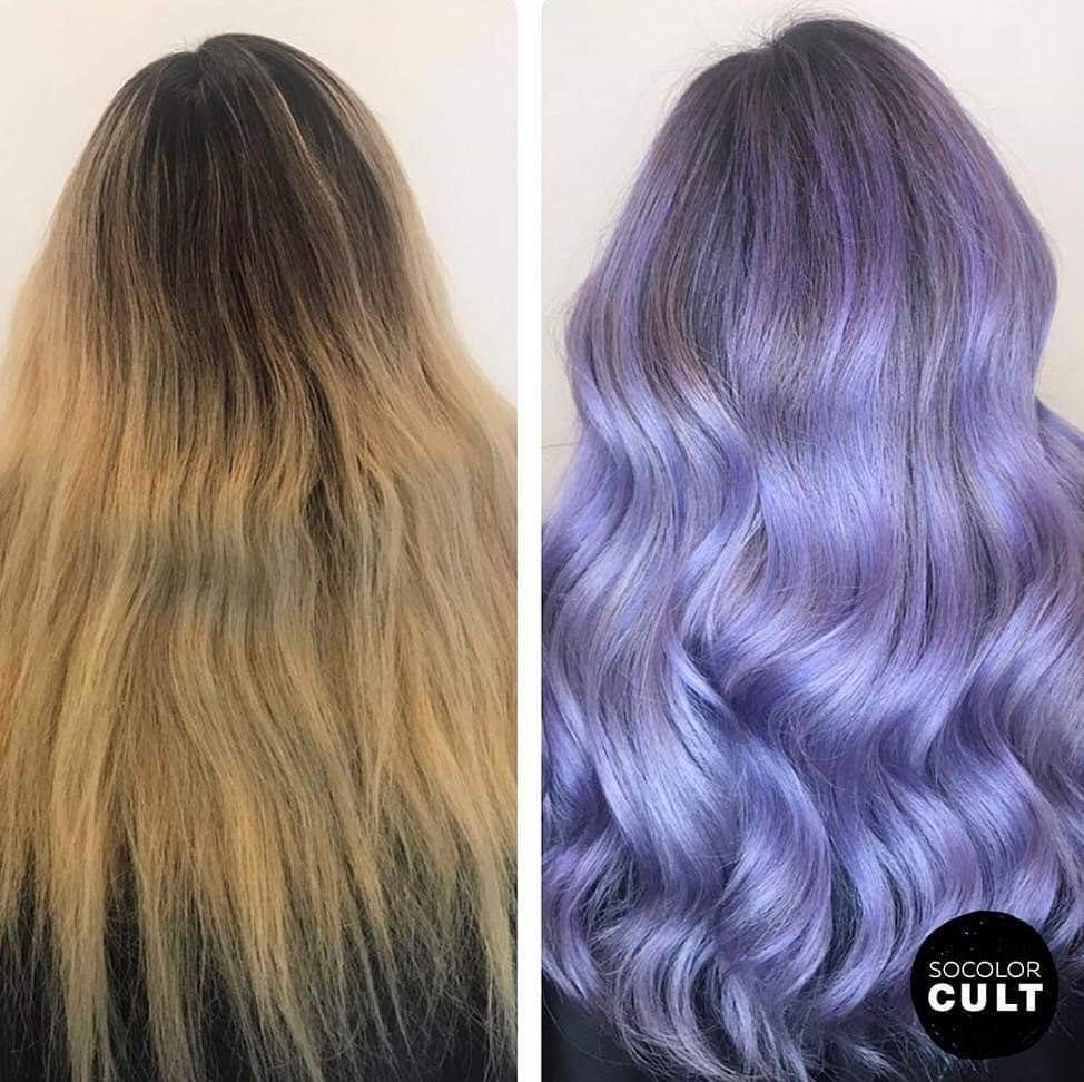 Matrix On Instagram Gorgeous Before After Of This Lavenderhair By Krazy4hair She Used Socolo Red Hair Toner Matrix Hair Color Toner For Blonde Hair