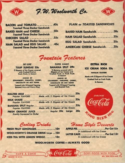 lunch counter menu | 1960 F  W  WOOLWORTH CO  LAMINATED