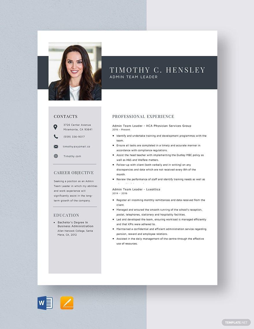 Admin team leader resume template in 2020 team leader