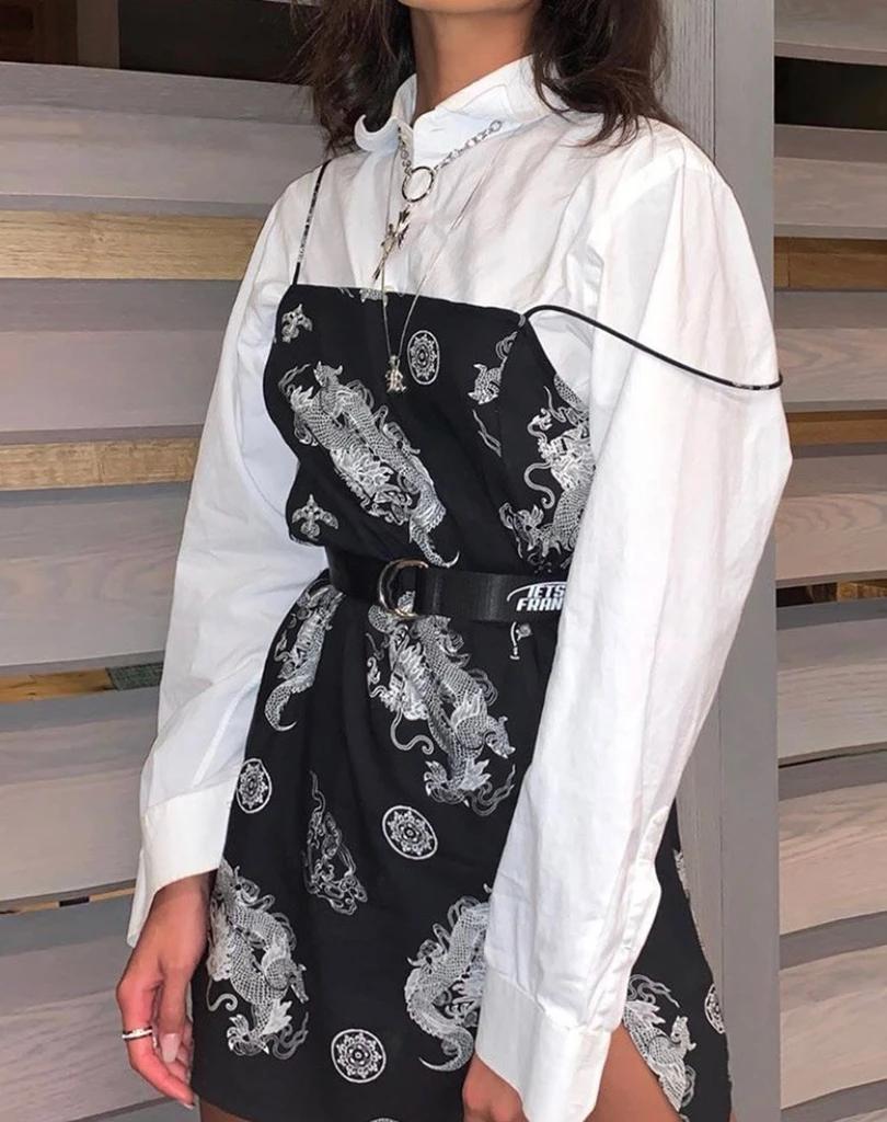 Datista Slip Dress in Black Dragon