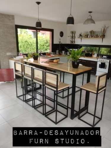 Barra Desayunador 2banq Hierro Y Madera Industrial Calidad 16 900 00 Diseño Muebles De Cocina Cocina Estilo Industrial Muebles De Cocina
