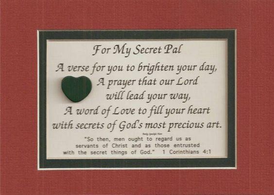 Secret Pal Verses Poems Christian Friend Plaques Prayer Secret Pal Secret Sister Gifts Secret Pal Gifts