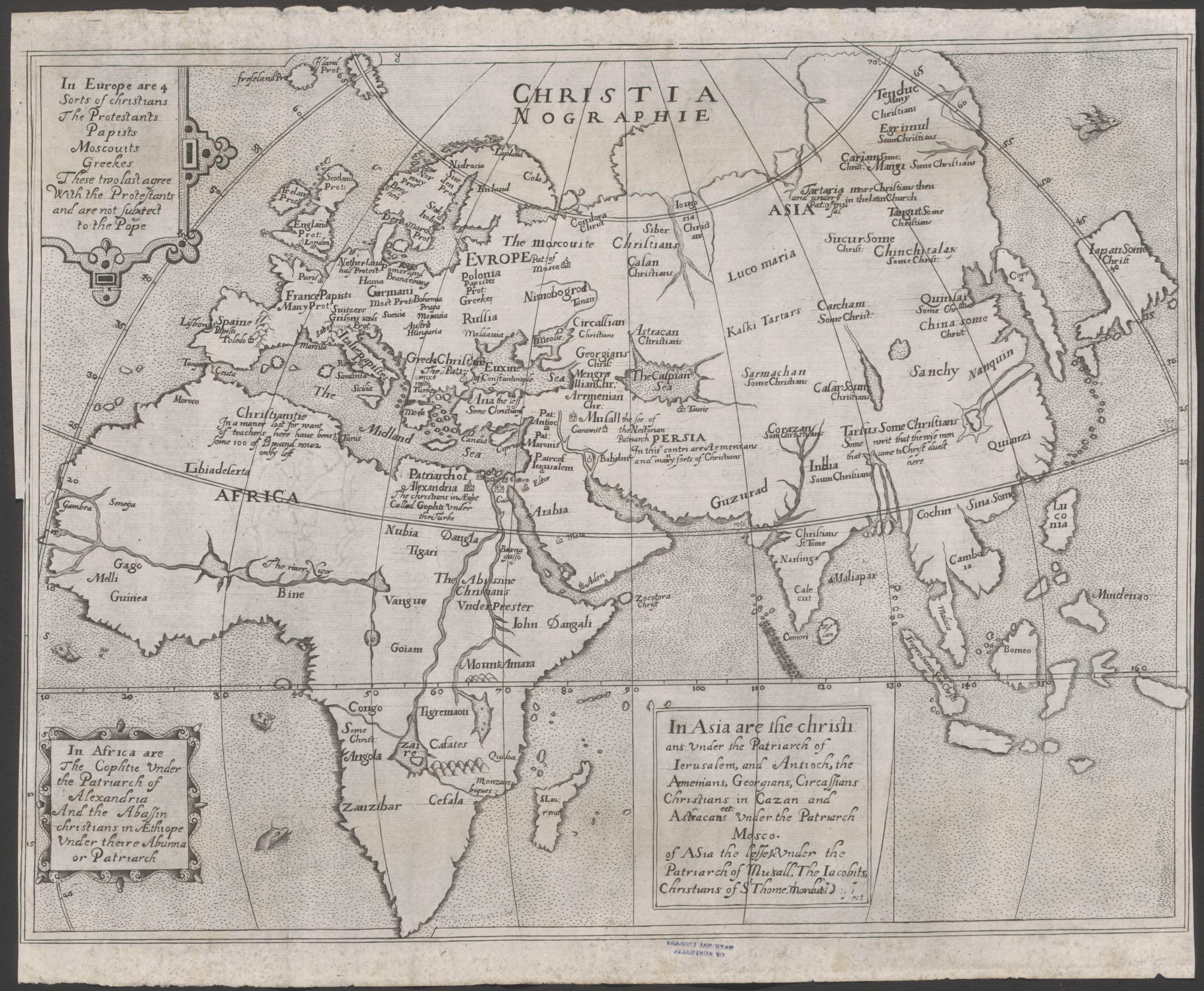 1600 map of eastern hemisphere, excluding Australia | Old Maps ...