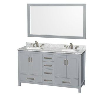 Wyndham Collection Sheffield 60 Inch Gray Double Vanity