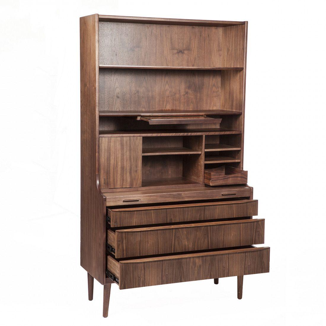 Midcentury modern jory midcentury high storage unit and desk