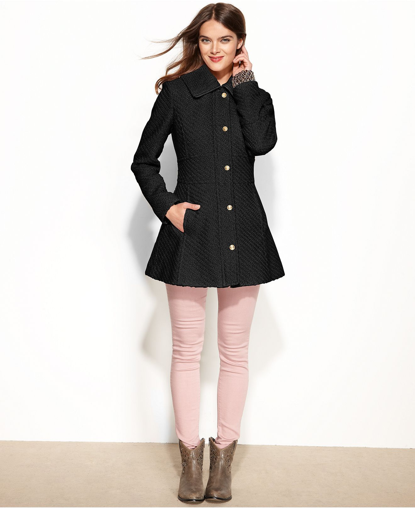 Jessica Simpson Long Fashion Puffer Jacket in Black Lyst