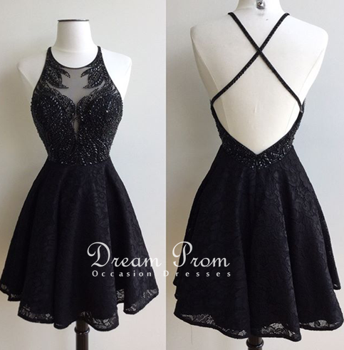 Stylish black lace beading short prom dress, homecoming dresses ...