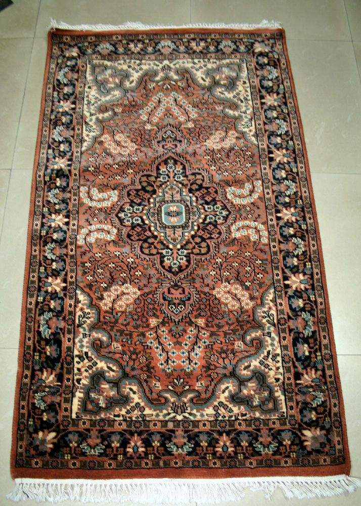 "RARE COLLECTIBLE KASHMIR CASHMERE 36""x60"" ANTIQUE 100% Wool Carpet,RUGS EDH #Indian"