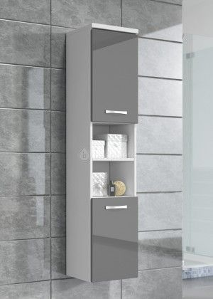 Badkamerkast Paso 160cm hoog - Wit met hoogglans grijs | Inrichting ...