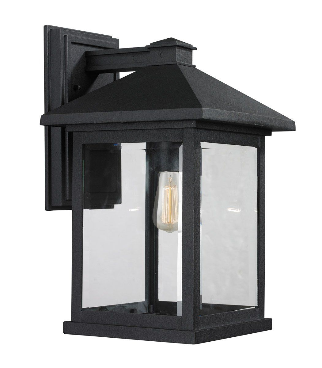 Z Lite 531b Bk Portland 1 Light 16 Inch Black Outdoor Wall Sconce In Clear Beveled Glass Black Outdoor Wall Lights Outdoor Sconces Wall Lantern