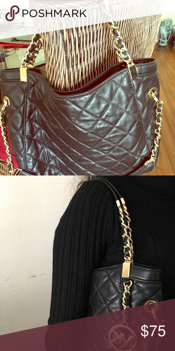 Shop Women s Michael Kors Black Gold size OS Satchels at a discounted price  at Poshmark. 7bce7818d9