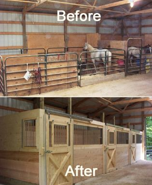 Metal Gate Stalls Replaced With Beautiful Wood Horse Stalls With