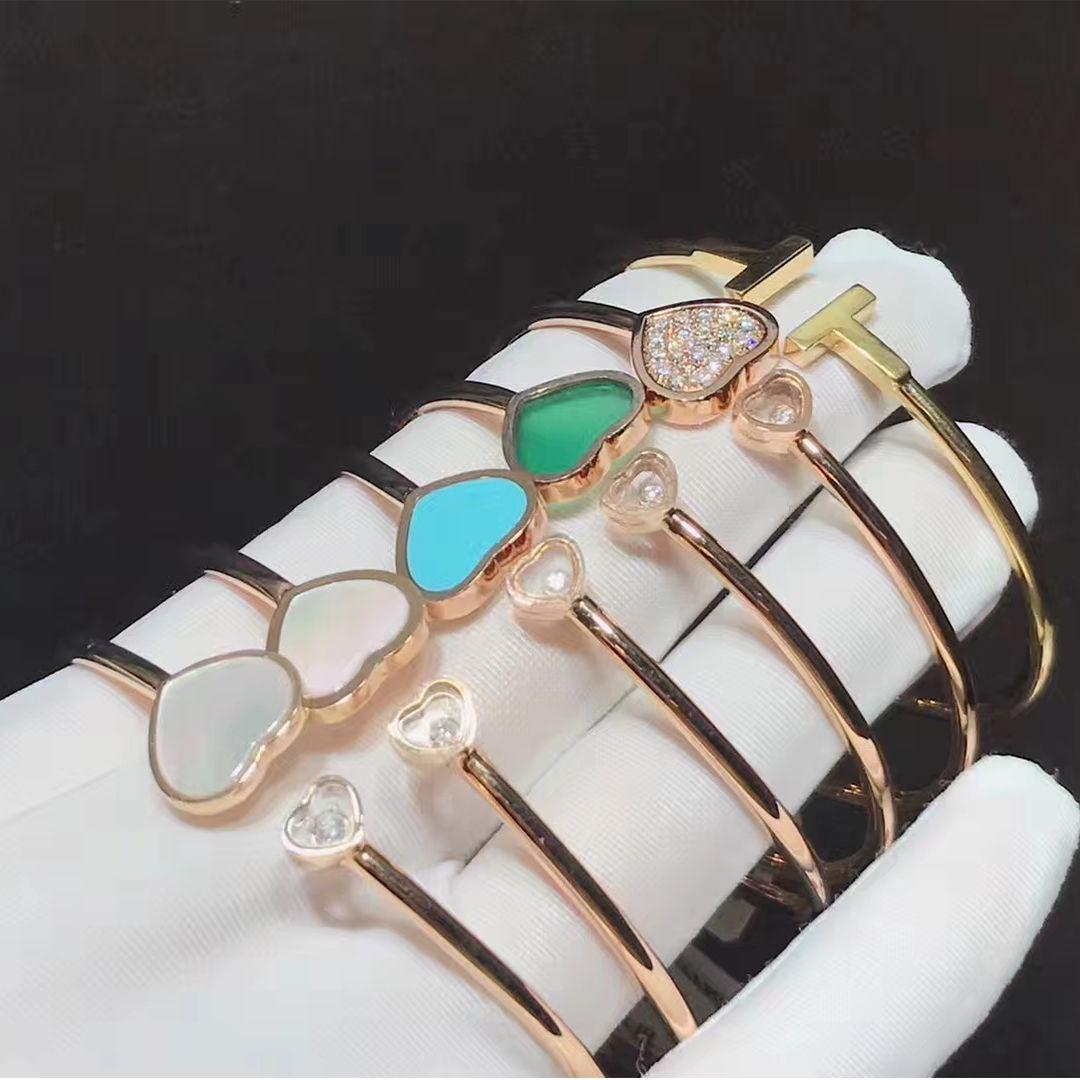 comment acheter clair et distinctif dernière mode 18k Rose Gold Chopard Happy Hearts Gems and Diamond Bangle ...