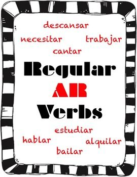 Regular -AR Verbs Packet | SPANISH Learning | Spanish ...