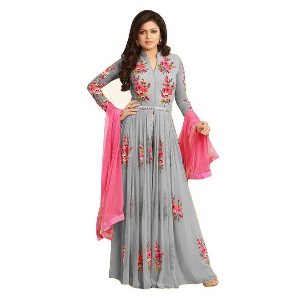 Buy Drashti Dhami New Designer Grey Georgette Embroidered Semi ...