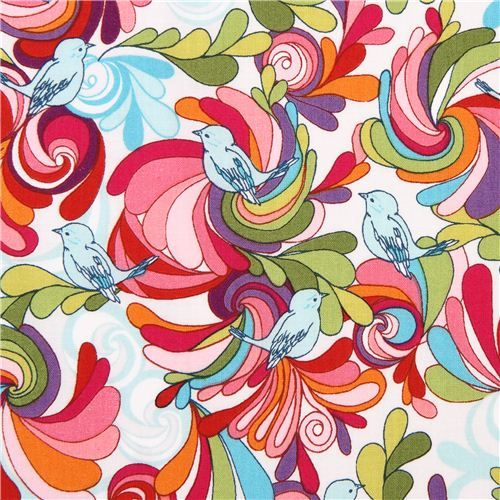colorful In the Bloom colorful bird flowers fabric by Robert Kaufman  2