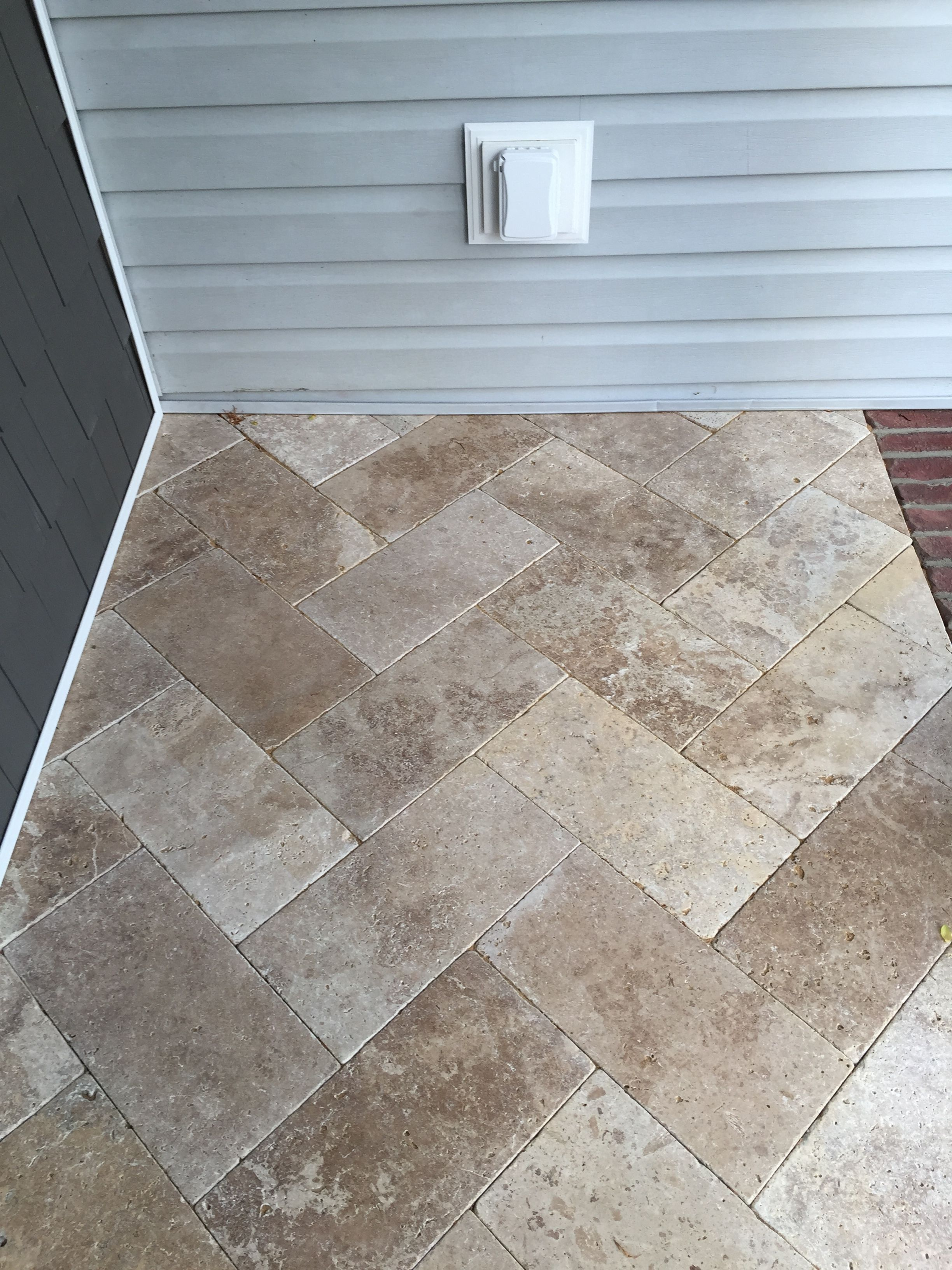 We used travertine tile in the herringbone pattern for our porch we used travertine tile in the herringbone pattern for our porch if a piece happens to crack just pick it up and lay another one down dailygadgetfo Choice Image