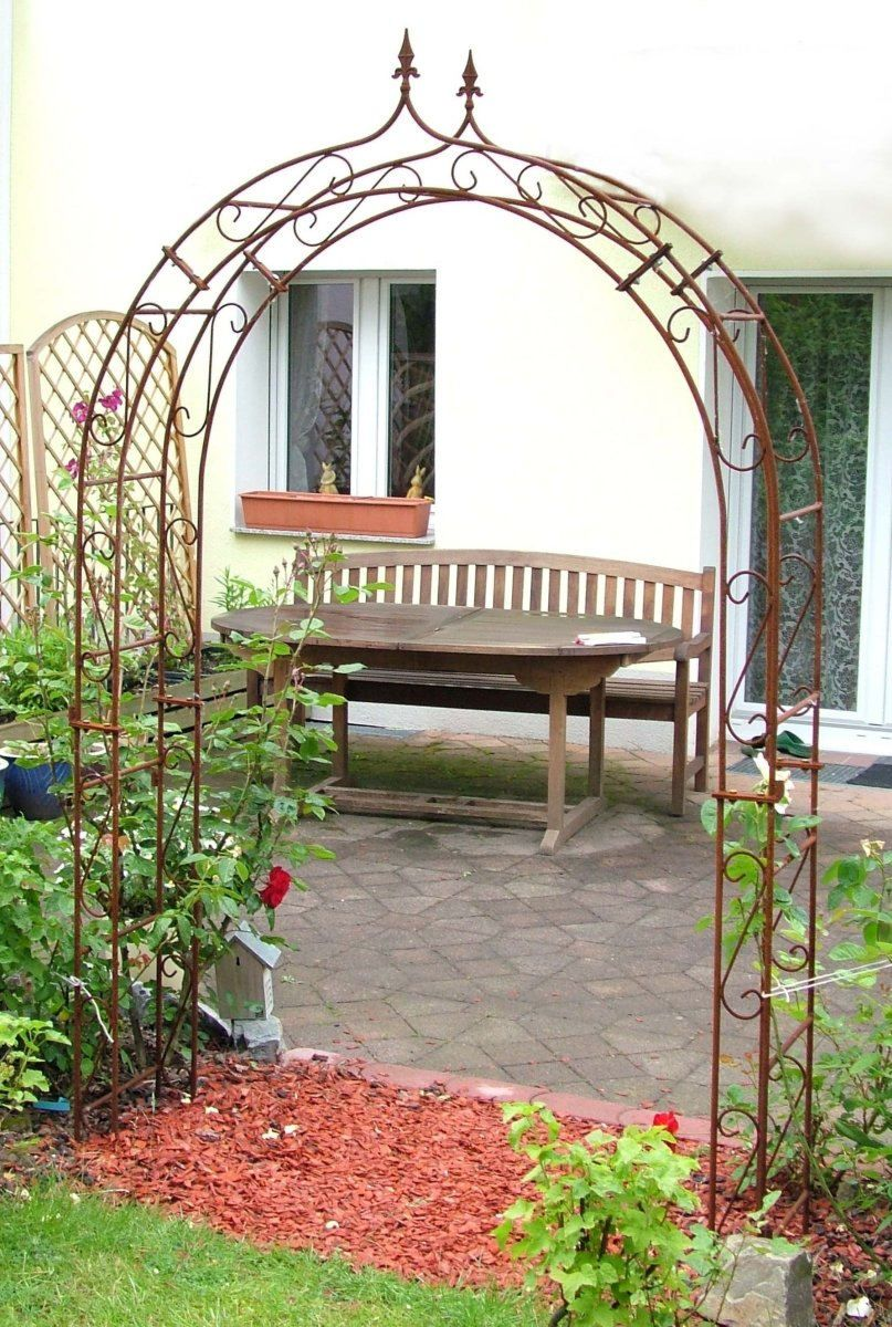 Rosenbogen Mit Zierspitze Metall Rost 140 Cm Rosenbogen Bogen Rosenbogen Metall
