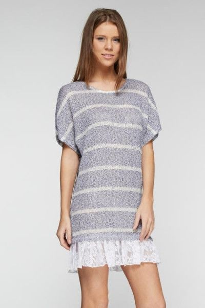 Striped Two Tone Lace Hem Lightweight Sweater