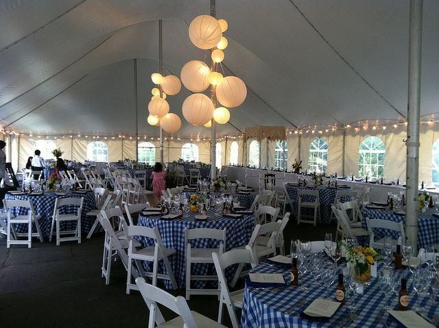 High Peak Pole Tent (40x100), Blue U0026 White Gingham Tablecloths, String  Lights, Decorative Paper Globes, Cathedral Window Sidewalls.