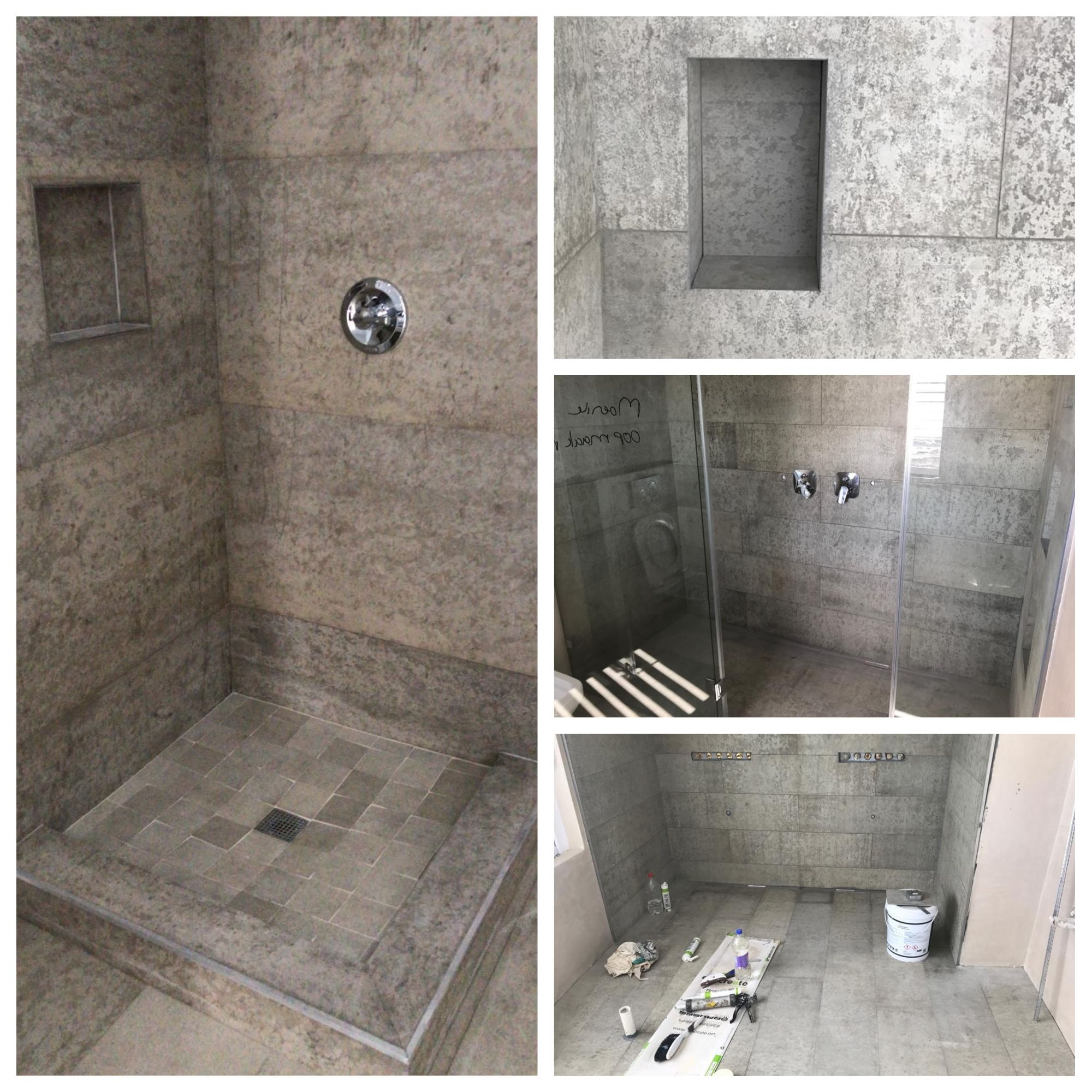 Concreate Concrete Shower Installations In Progress Yesyoucan Concrete Shower Shower Installation Wall Panels