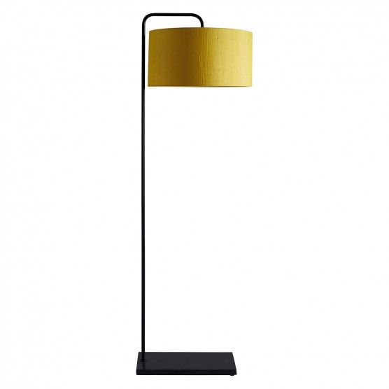 Marbelle black metal and marble floor lamp with yellow silk shade buy now at habitat