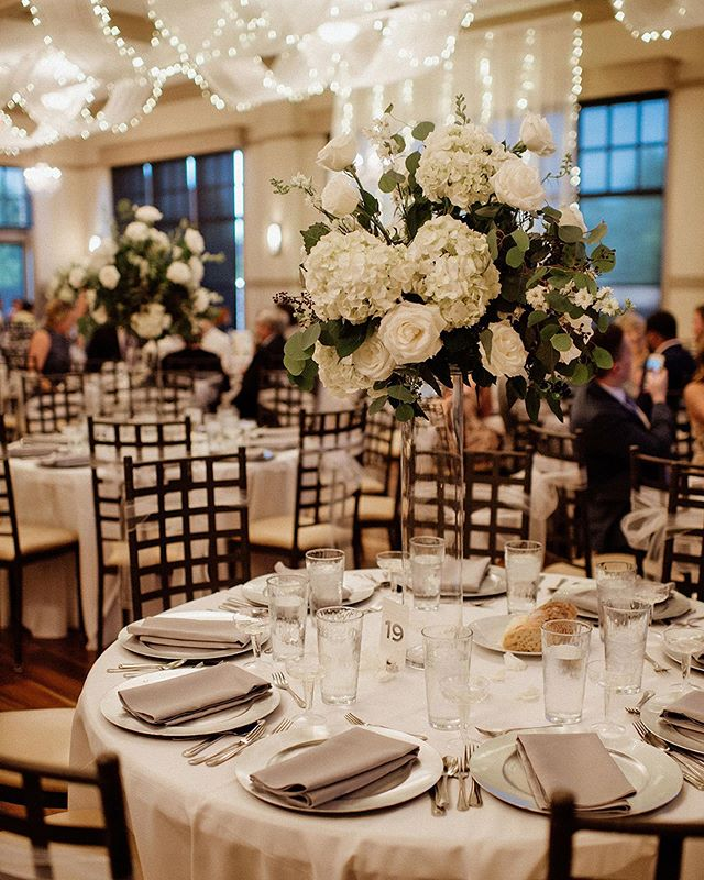 This Wedding Reception Decor Is Elegant And Bright Check Out Noah S Event Venue S Instagram Wedding Reception Decorations Reception Decorations Event Venues