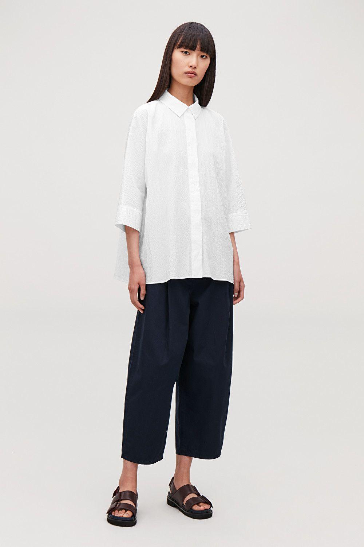 Loose Fit Seersucker Shirt White Tops In 2020 Seersucker