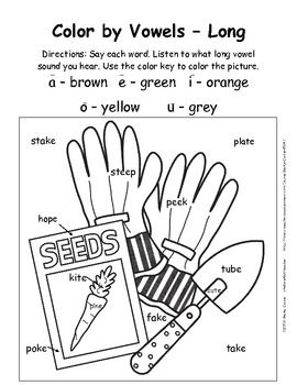 Spring Color-by-Vowels (Short & Long), 8 Total-4 Short
