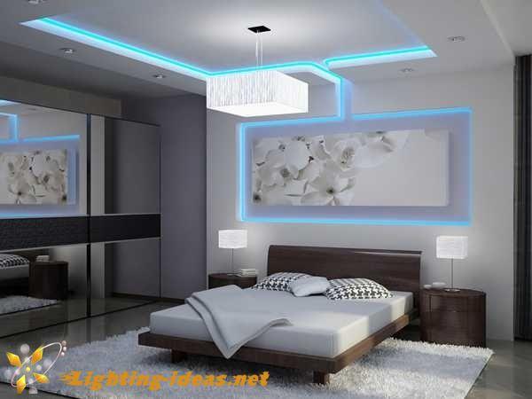 bedroom lights: Modern bedroom design with blue LED light strips ...