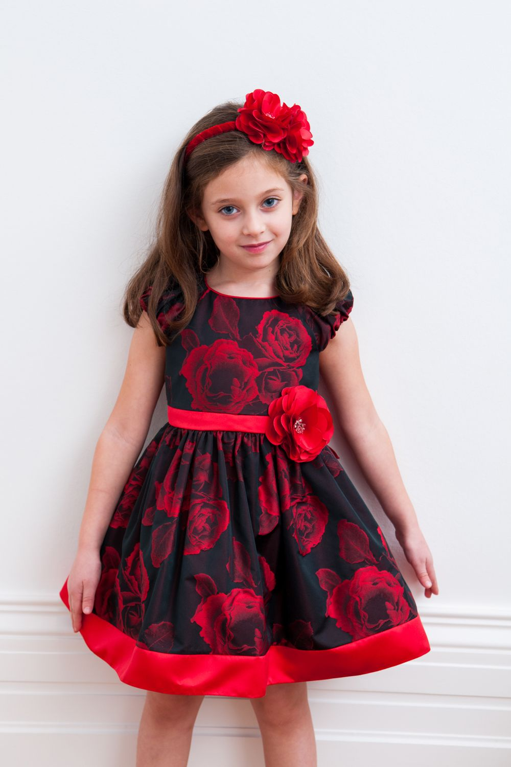 Black and red rose party gown david charles childrens party