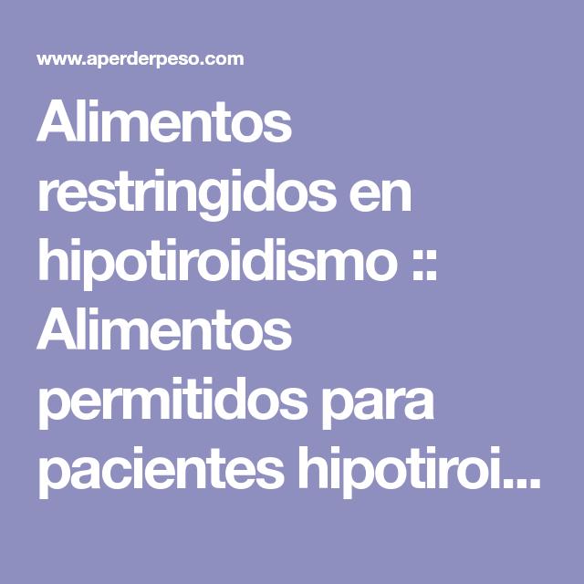 dieta para el hipotiroidismo subclinico