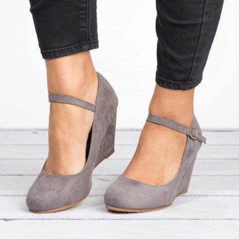 Shoes for women - Plain Velvet Round Toe Date Office Closed-Toe Wedges $22.06
