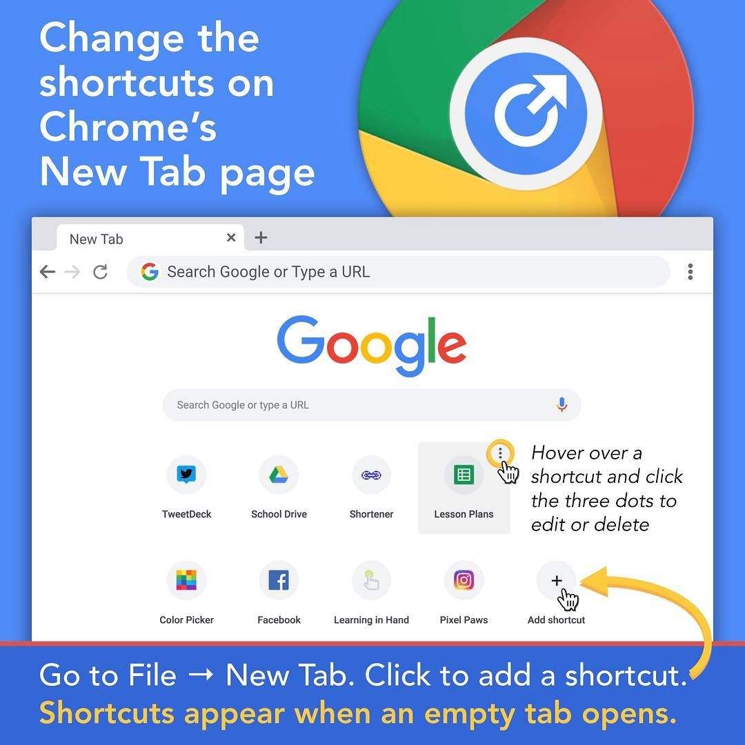 Change the shortcuts on Chrome's New Tab page | Tech | Google search