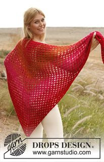 """Rosalyn - Crochet DROPS shawl with tr-groups in 2 threads """"Alpaca"""".  - Free pattern by DROPS Design"""