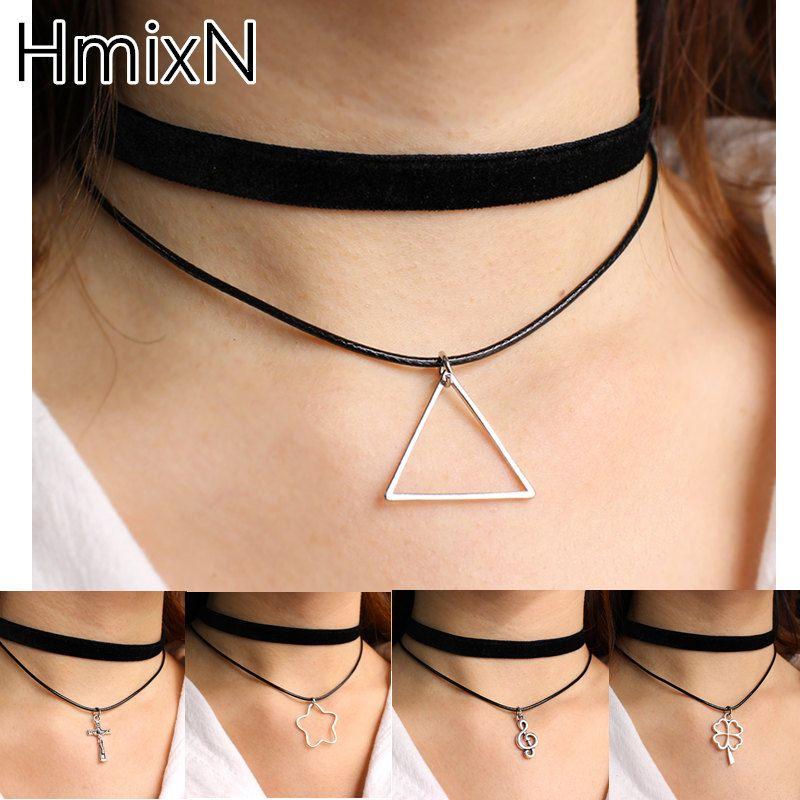 Nueva triángulo vintage choker collar collar de múltiples capas de la cuerda de cuero negro suspensión plateado anchor cross joyas capa