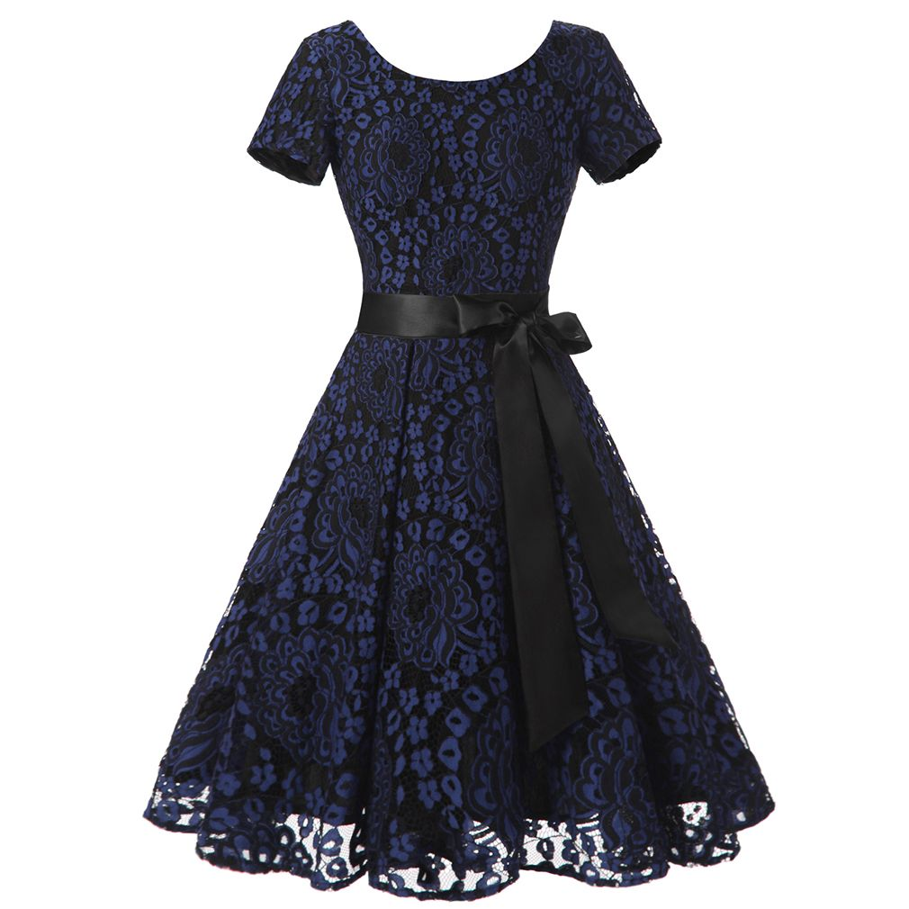 2017 Tunic Lace Vintage Dress Female Robe Pul Casual 1950s ...