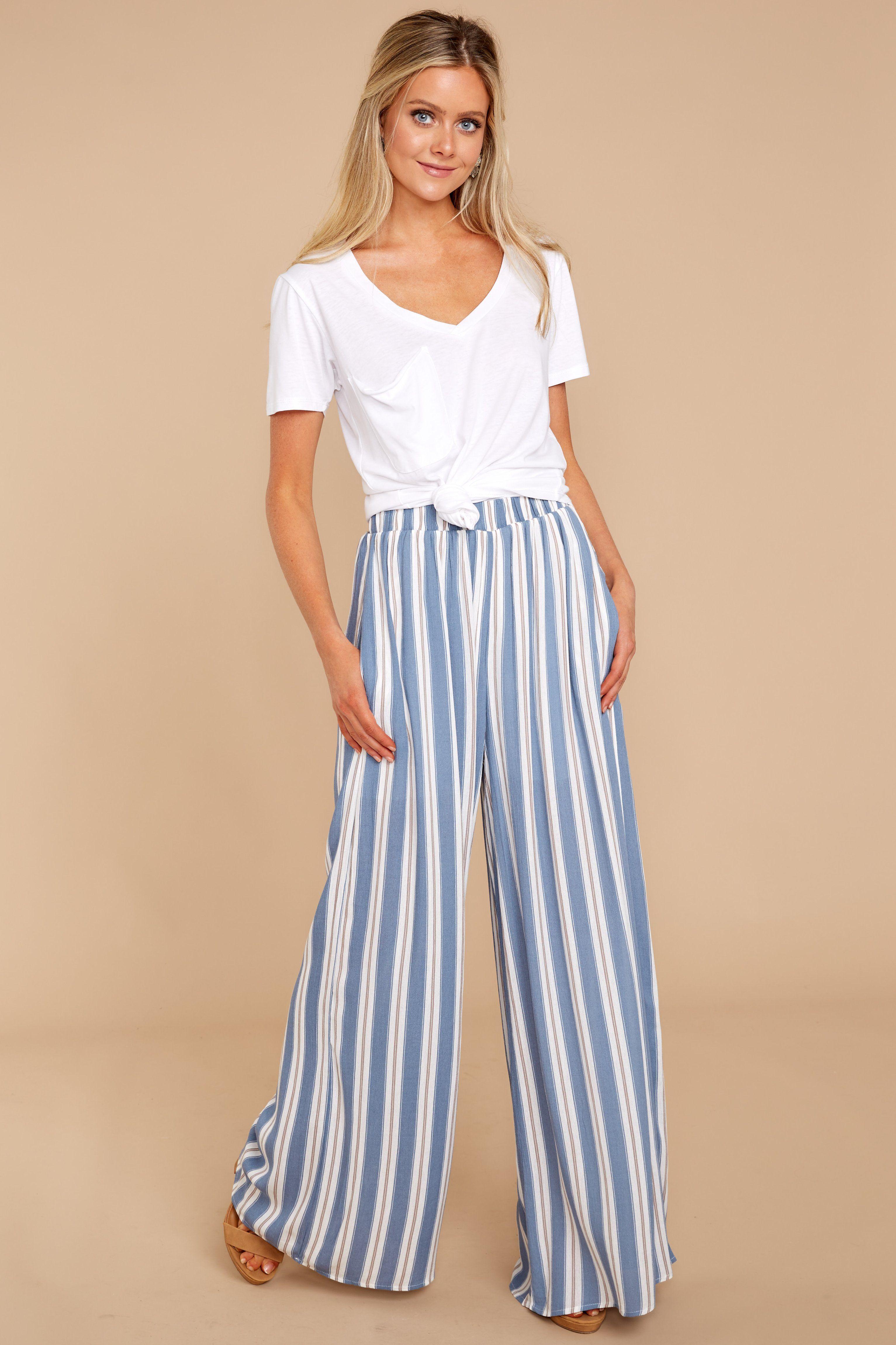 2018 Summer New Women Elastic Waist Tie Chic Vertical Wide Leg Casual Pants Products Hot Sale Bottoms Pants & Capris